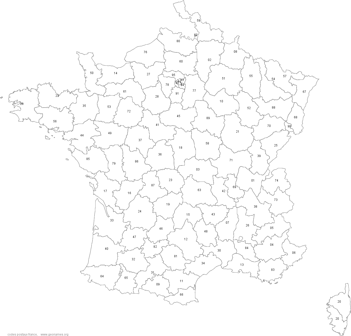 Carte des codes postaux en France