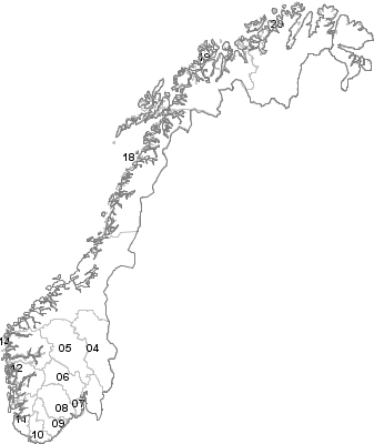 Postal Codes Norway - Norway komune map