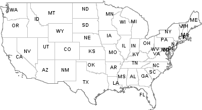 Postal Codes United States - Map of the postal abreviations for the us
